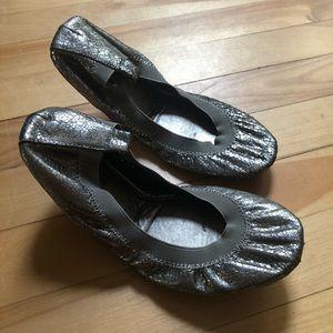 Yosi Samra Bronze Textured Metallic Ballet Flats